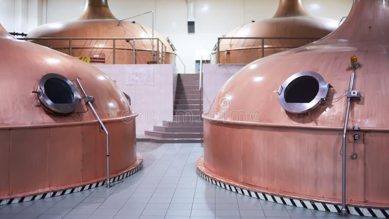 Materiaal voor voorbereiding van bier Lijnen van kuipertanks in brouwerij Manufacturableproces van brewage Wijze van bier stock afbeelding