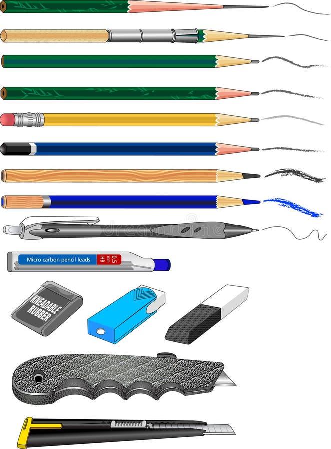 Materiais 01 da arte - desenho ilustração do vetor
