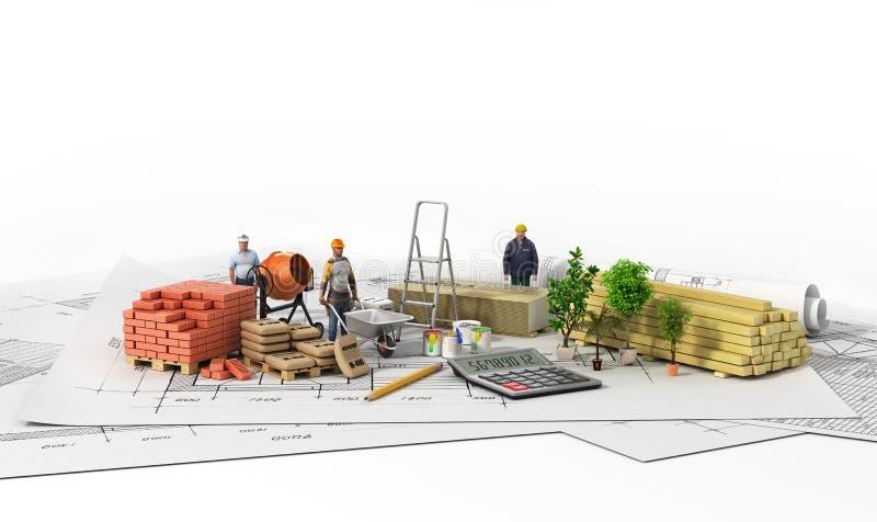 Materiais de construção com modelo ilustração stock