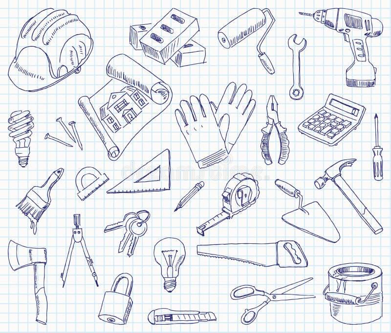 Materiais de construção do desenho a mão livre ilustração do vetor