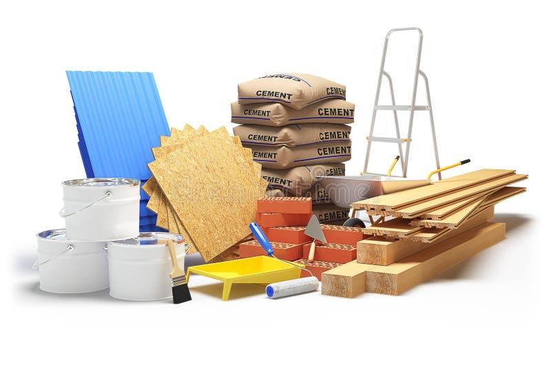 Materiais de construção isolados no branco rendição 3d foto de stock royalty free