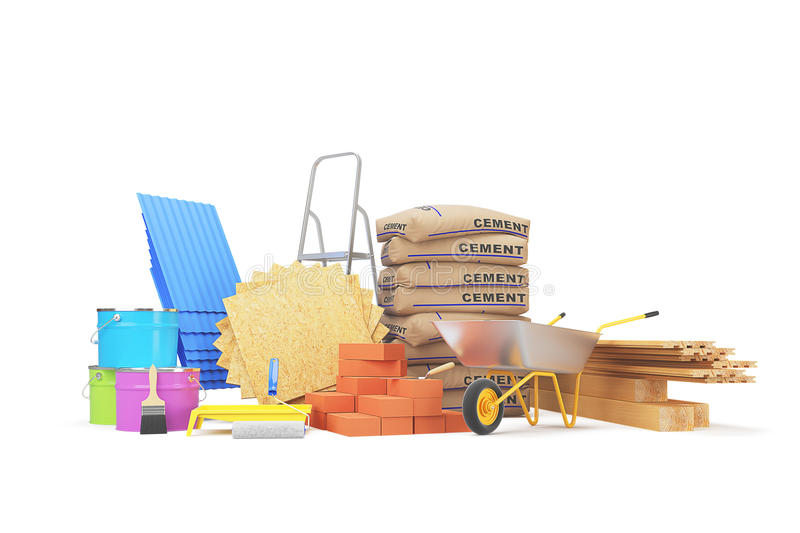 Materiais de construção isolados no branco rendição 3d foto de stock