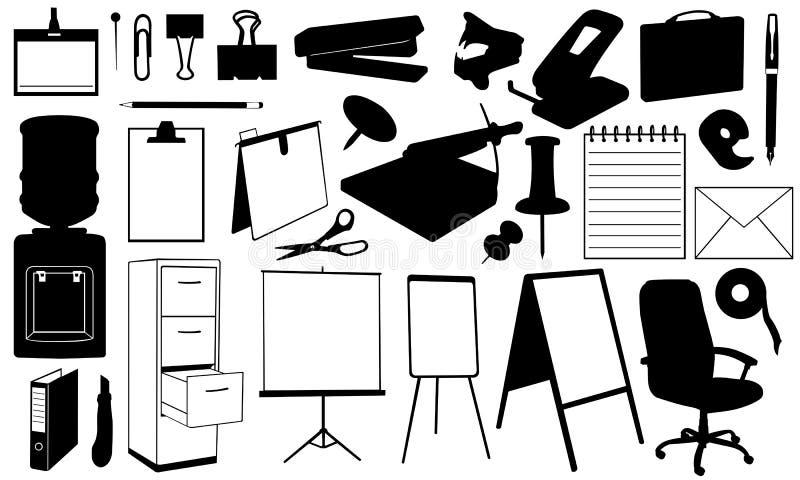 Materiais de escritório ilustração do vetor