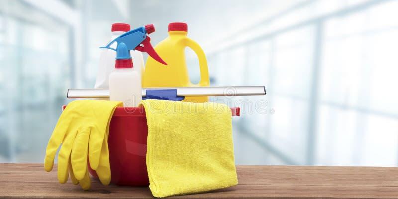 Materiais de limpeza e luvas de borracha fotografia de stock