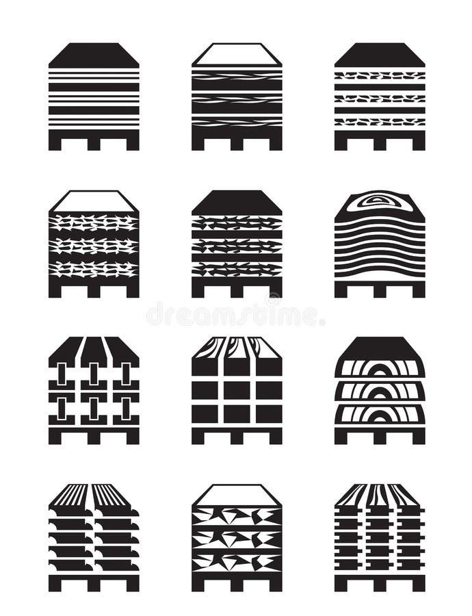 Materiais de madeira nas páletes ilustração do vetor