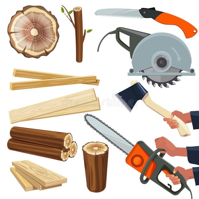 Materiais de madeira O vetor de madeira da pilha da silvicultura das ferramentas de corte do equipamento do woodworking da produç ilustração do vetor