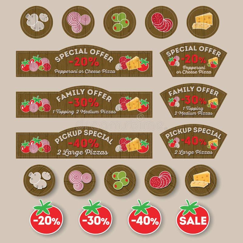 Materiais do cargo da pizza Quadros indicadores, descontos, etiquetas relativas à promoção para a pizza, ingredientes da pizza ilustração royalty free