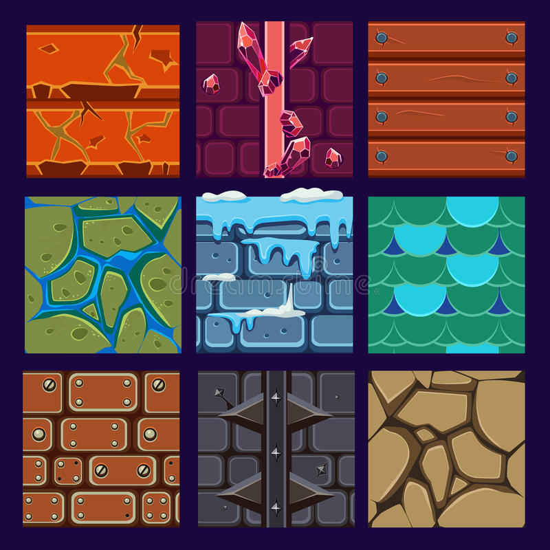 Materiais e texturas diferentes para o jogo ilustração royalty free