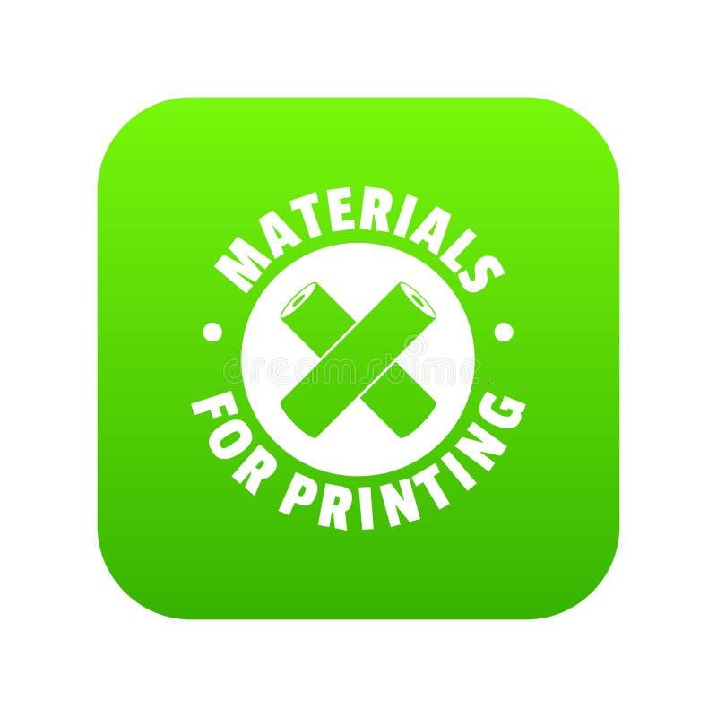 Materiais para imprimir o vetor verde do ícone ilustração do vetor
