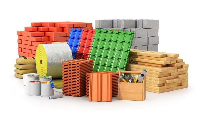 Materiais para telhar, materiais de construção, ilustração stock