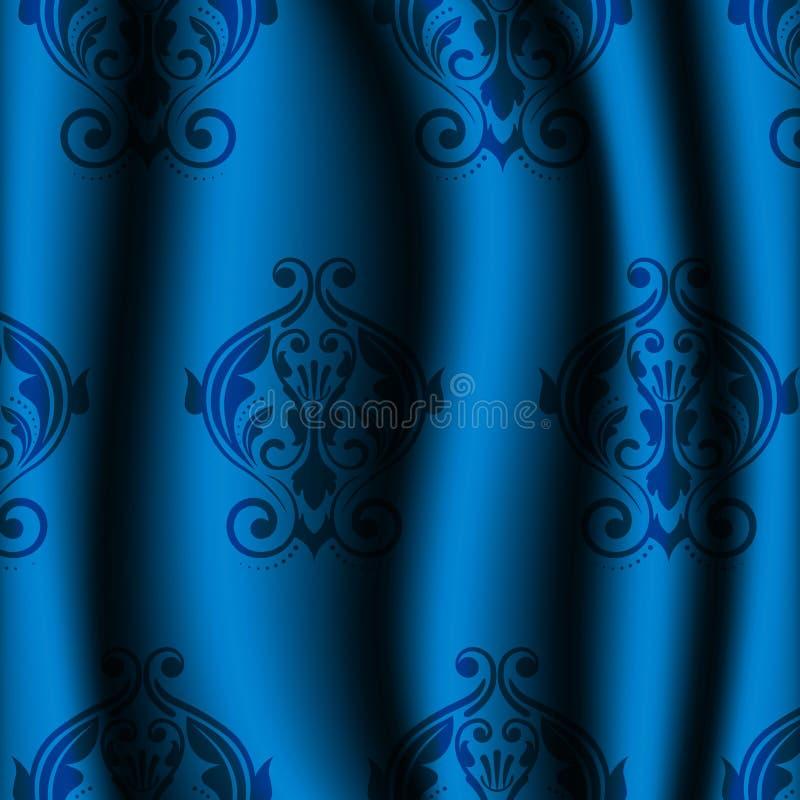 Material azul com teste padrão do vintage ilustração do vetor
