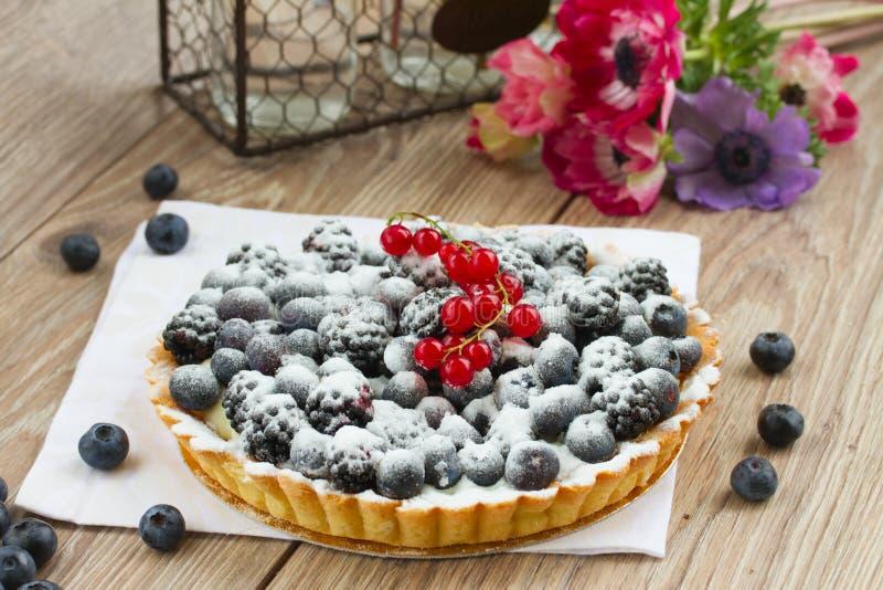 material: blåbär gräddfil, socker, två ägg royaltyfria foton