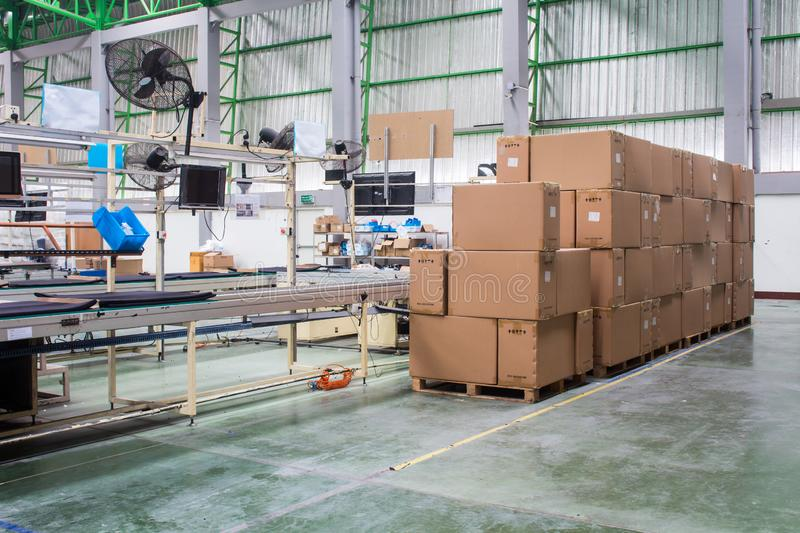 Material box near the production line in the factory.  royalty free stock photography