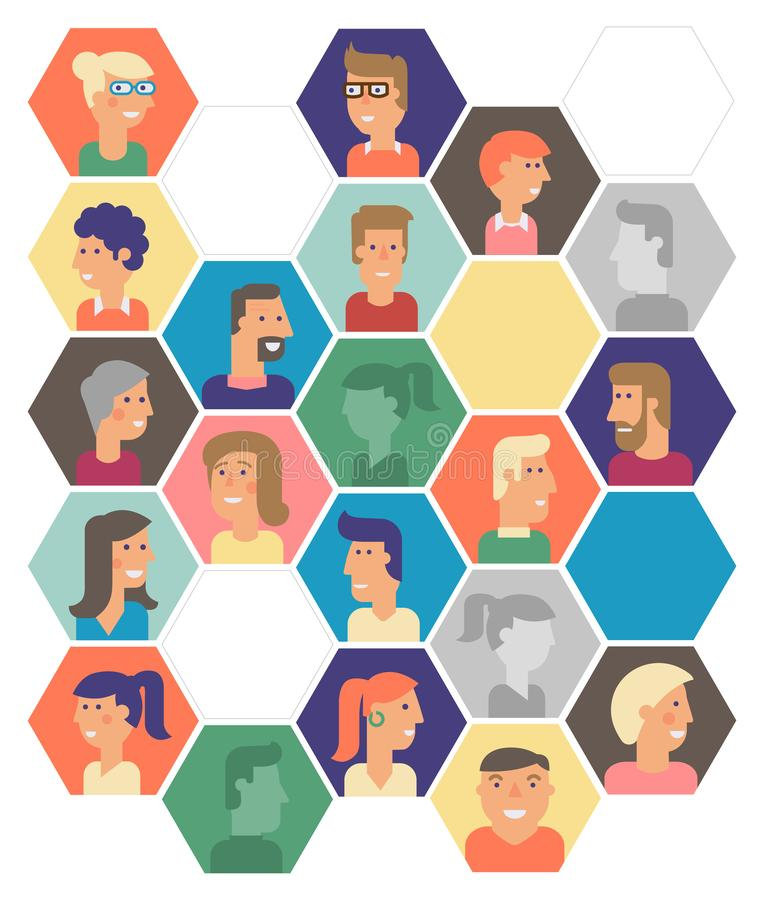Material cartoon avatars, vector trendy characters collection stock photos