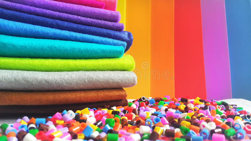Material crafting colorido fotografia de stock royalty free