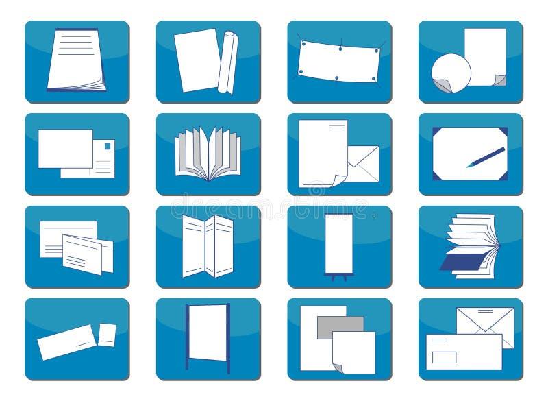 Material da impressão dos ícones ilustração do vetor