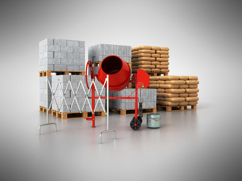 Material de construcción 3d en un fondo gris ilustración del vector