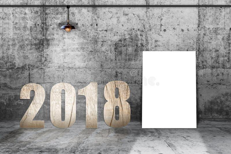 Material de madera de 2018 números con la lámpara en sitio concreto foto de archivo libre de regalías