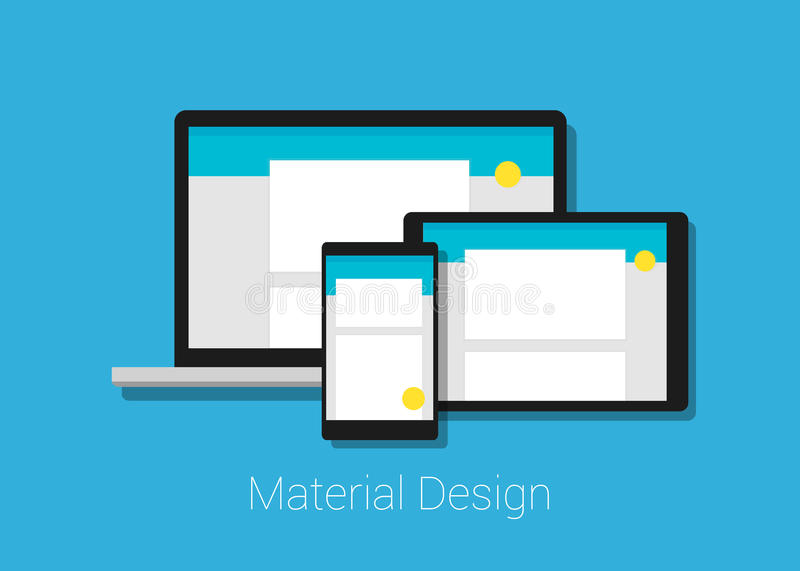 Material deign responsive interface layout. In laptop tablet phone vector illustration