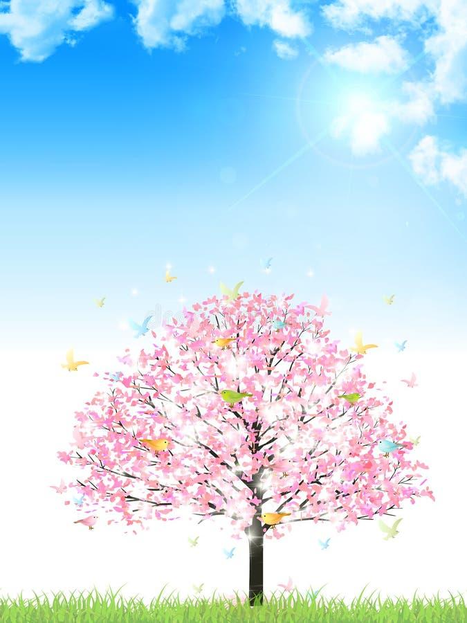 Material del ejemplo de la cereza que primavera japonesa reflejada ilustración del vector