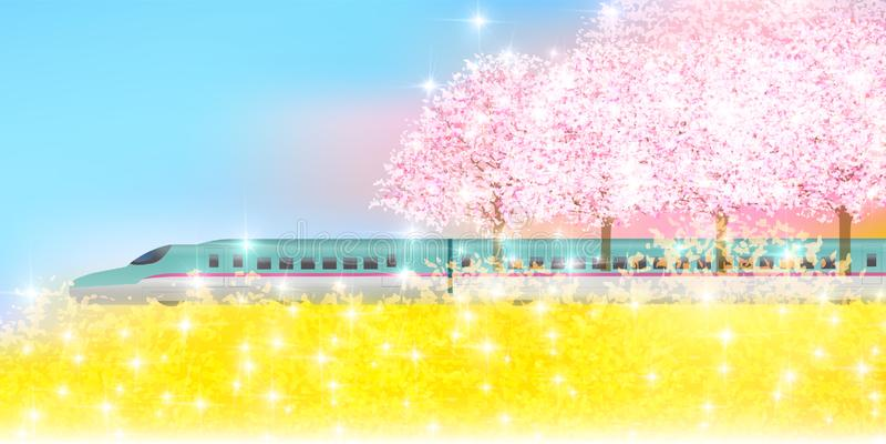 Material del ejemplo de la cereza que primavera japonesa reflejada stock de ilustración