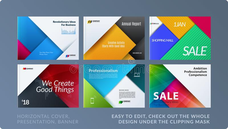 Material design of brochure set, abstract annual report, horizontal cover layout, flyer in A4 with vector colourful stock illustration