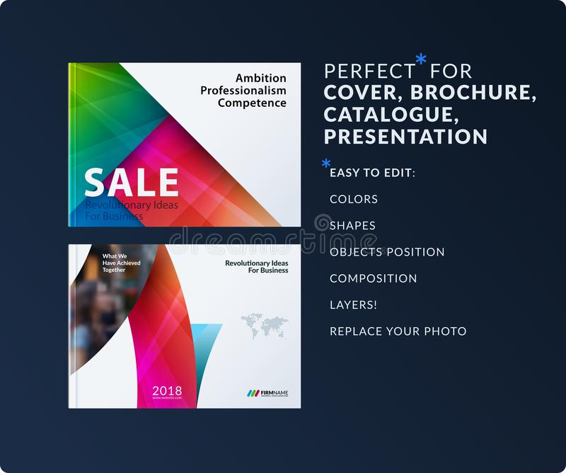 Material design of brochure set, abstract annual report, horizontal cover layout, flyer in A4 with vector colourful vector illustration