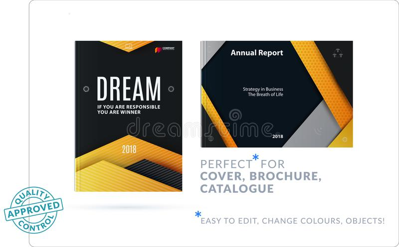 Material design of brochure set, abstract annual report, horizontal cover layout, flyer stock illustration
