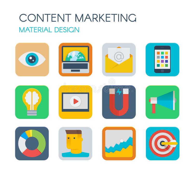 Material design content marketing icons stock vector for Digital marketing materials