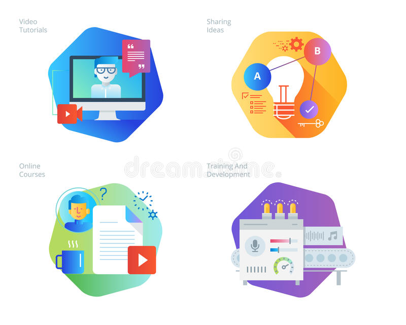 Material design icons set for education, video tutorials, online courses, training and development, sharing ideas stock illustration