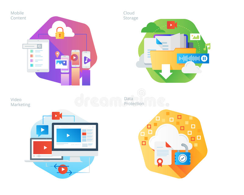 Material design icons set for mobile services and solutions, cloud storage, video marketing, data protection stock illustration