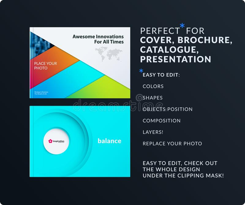 Material design presentation. Abstract colourful vector set of modern horizontal templates with layers for business royalty free illustration