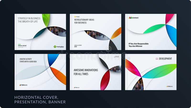 Material design presentation template with colourful circles intersections. Abstract vector set of modern horizontal vector illustration