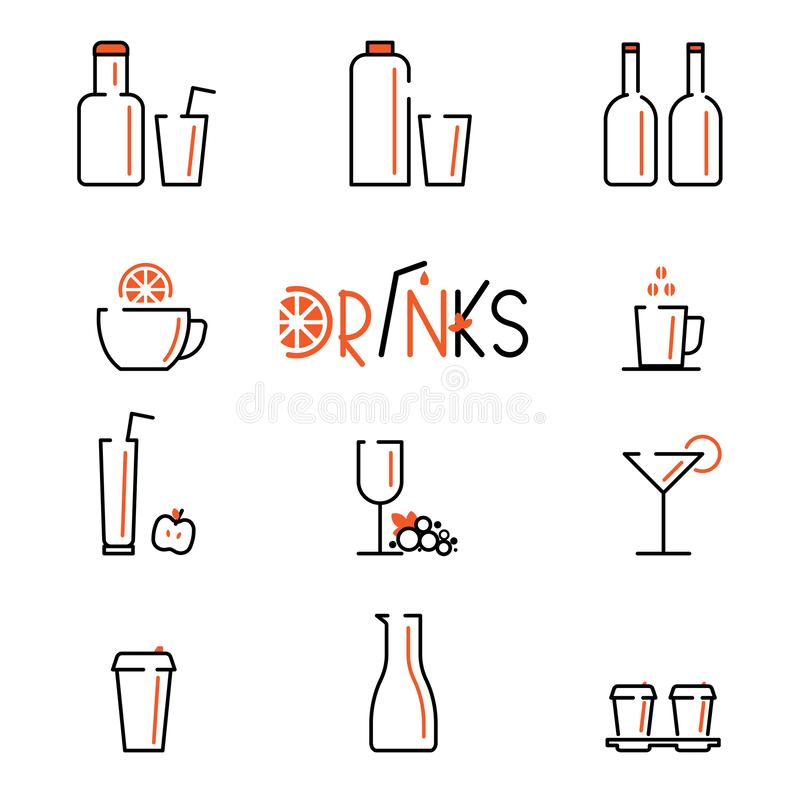 Drinks vector line icons set. Contains icons cup of tea, coffee, glass of vine, cocktail and bottles.  royalty free illustration