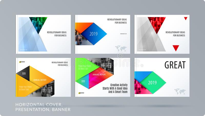 Material design style presentation template with colourful rectangles shadows. Abstract vector set of modern horizontal royalty free illustration