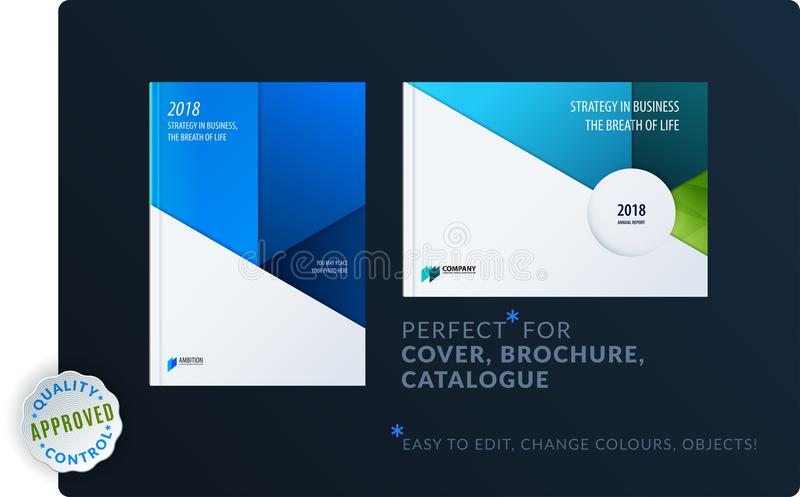 Material design template. Creative blue colourful abstract brochure set, annual report, horizontal cover, flyer. Material design template. Creative abstract royalty free illustration