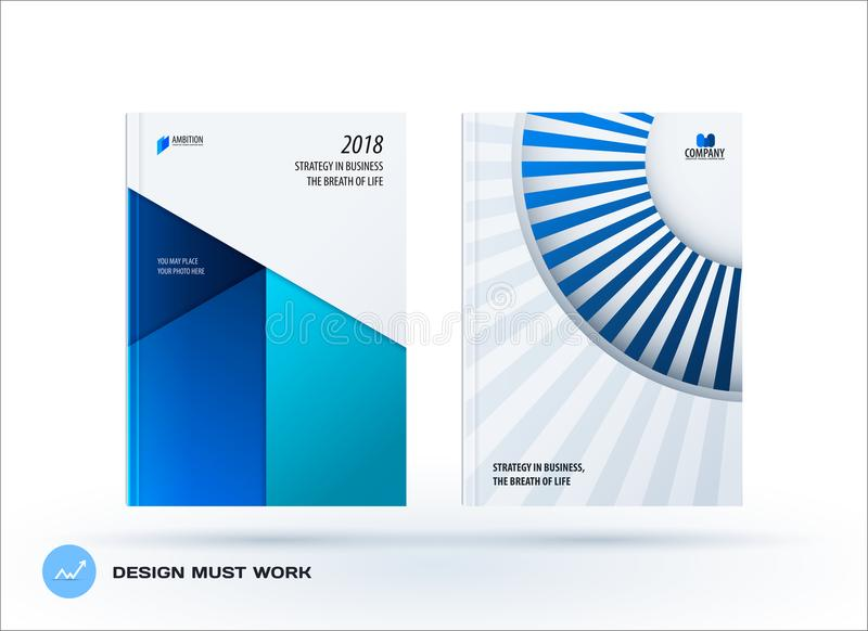Material design template. Creative blue colourful abstract brochure set, annual report, horizontal cover. Material design template. Creative abstract brochure vector illustration