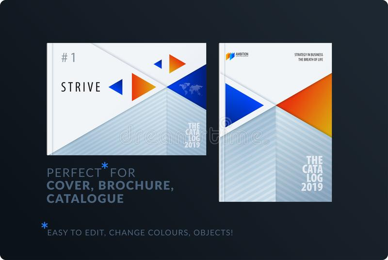 Material design template. Creative blue orange colourful abstract brochure set, annual report, horizontal cover, flyer. Material design template. Creative vector illustration