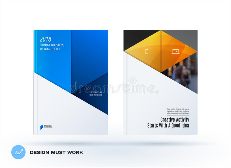 Material design template. Creative blue yellow colourful abstract brochure set, annual report, horizontal cover. Material design template. Creative abstract royalty free illustration
