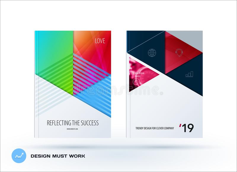 Material design template. Creative colourful abstract brochure set, annual report, horizontal cover. Material design template. Creative abstract brochure set stock illustration