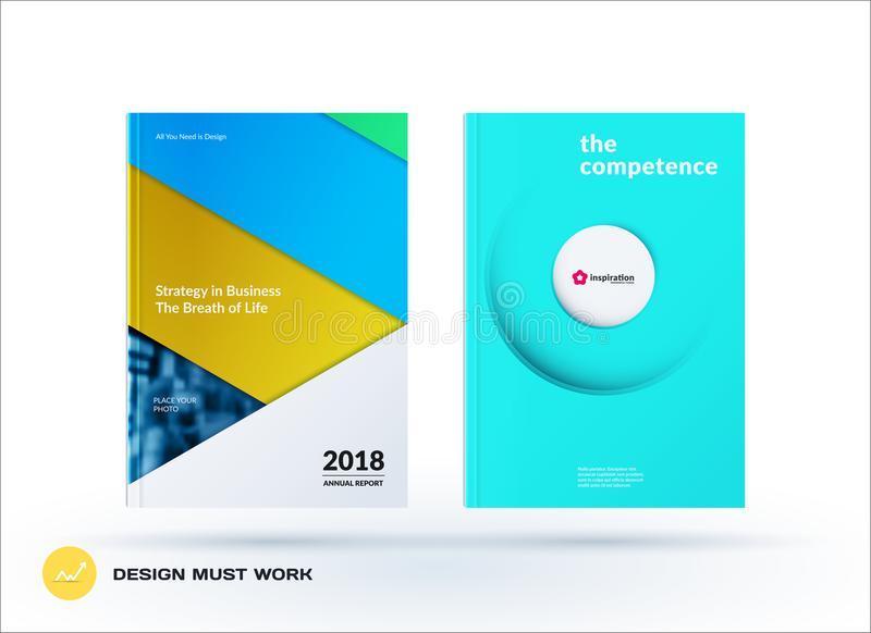 Material design template. Creative colourful abstract brochure set, annual report, horizontal cover. Material design template. Creative abstract brochure set vector illustration