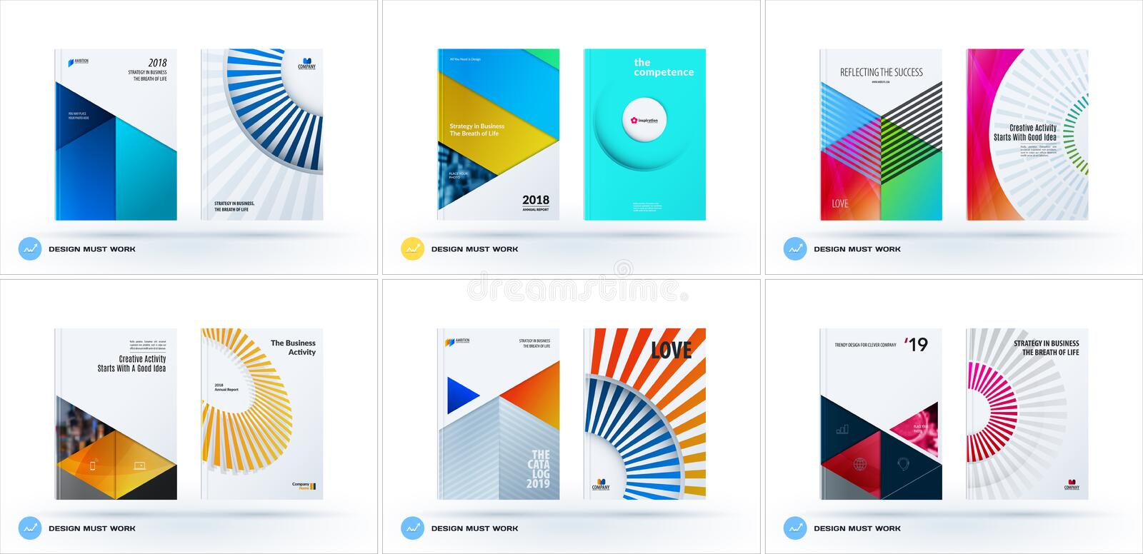 Material design template. Creative colourful abstract brochure set, annual report, horizontal cover. Material design template. Creative abstract brochure set royalty free illustration