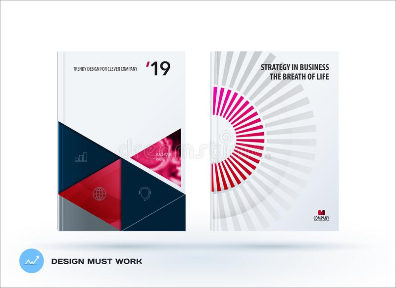 Material design template. Creative red colourful abstract brochure set, annual report, horizontal cover. Material design template. Creative abstract brochure set stock illustration