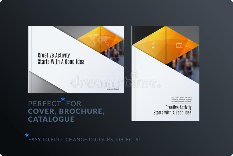 Material design template. Creative yellow colourful abstract brochure set, annual report, horizontal cover, flyer. Material design template. Creative abstract stock illustration