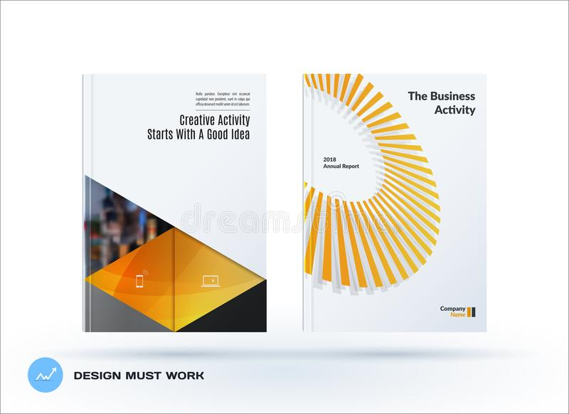 Material design template. Creative yellow colourful abstract brochure set, annual report, horizontal cover. Material design template. Creative abstract brochure stock illustration