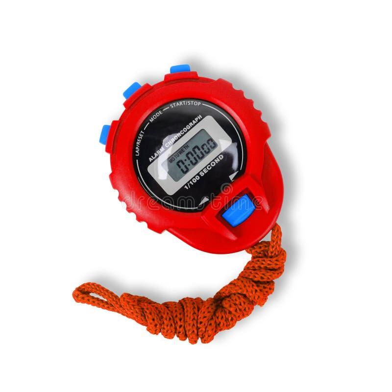 Material desportivo - cronômetro vermelho Isolado imagem de stock