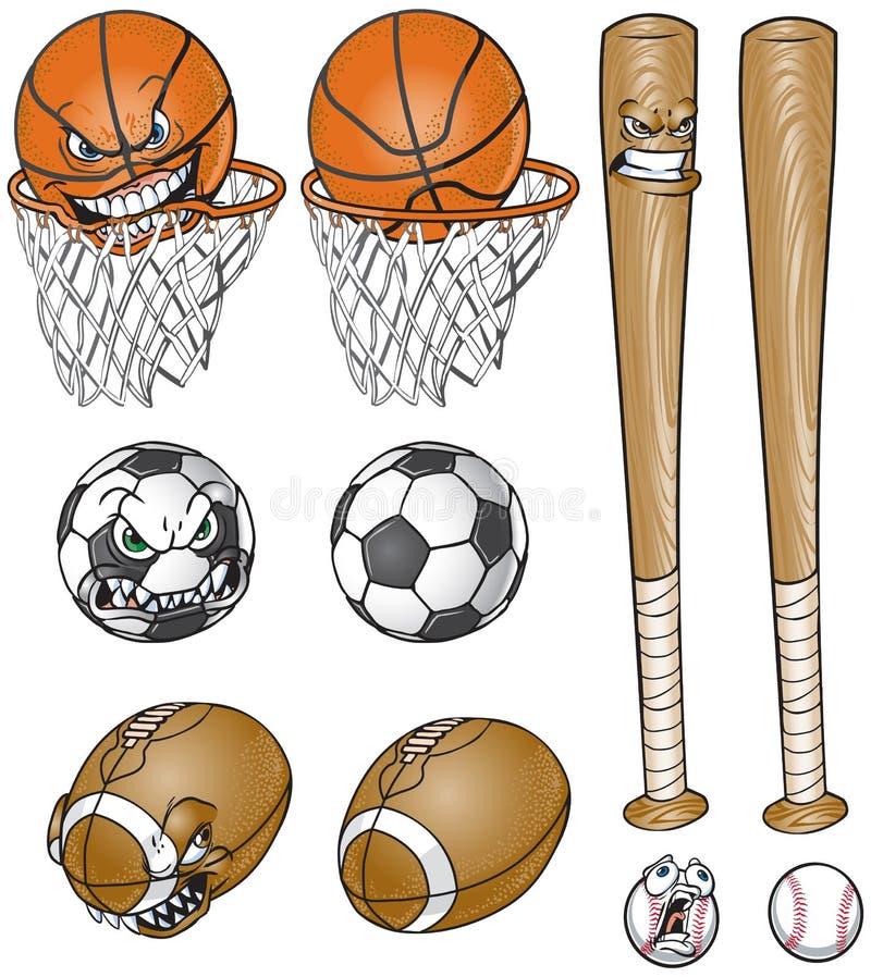 Material desportivo dos desenhos animados ajustado com e sem as caras ilustração royalty free