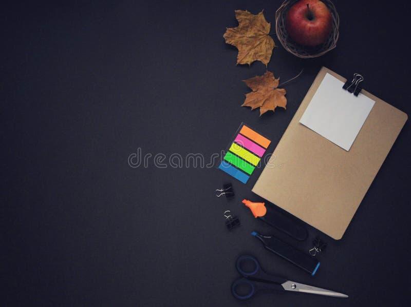 Material do estudo Fundo da educação stationery Aspectos da educação Etiquetas, papel, marcadores, tesouras, uma maçã, folhas e n imagens de stock