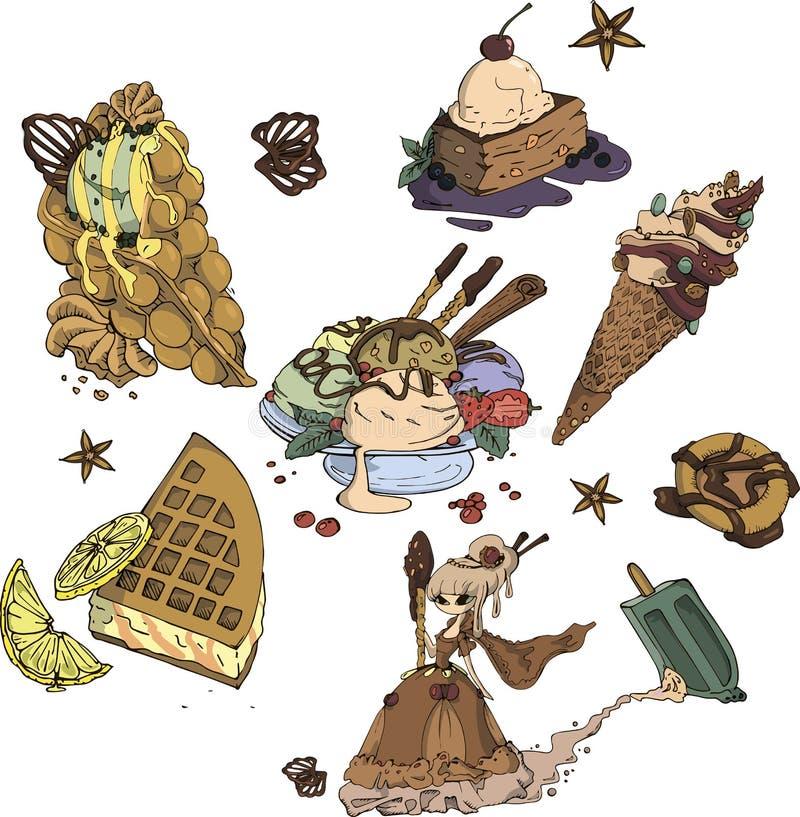 Material doce dos desenhos animados ilustração do vetor