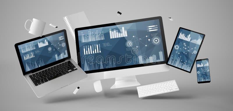 material e dispositivos do escritório que flutuam com stats e dados financeiros ilustração royalty free